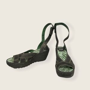 Fly London Black Strappy Outdoor Sandals Size 5.5